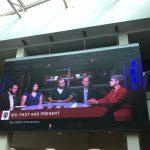 A livestream of the panel consisting of moderator Charlie Scudder, Jamie Zega, Larry Buchanan, Media School professor of practice Joe Coleman, and Myrna Oliver.
