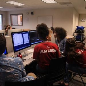 Students editing footage