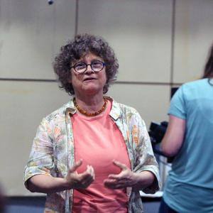 Susanne Schwibs speaks with students