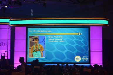 IU Bee winner Daniel Larsen's final ranking is displayed on the screen at the Scripps National Spelling Bee closing ceremony. (Courtesy photo)