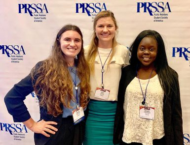 PRSSA members Sydney Heile, Bryn Eudy and Brittney Mwonya at the annual conference in Austin, Texas.