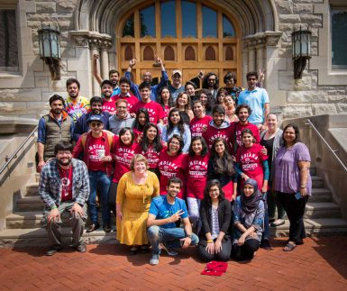 Students, faculty and staff involved in the Punjabi film project gather for a final photo outside Franklin Hall. (The Media School)
