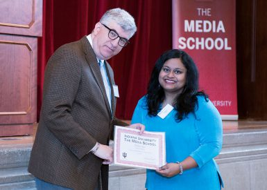Dean James Shanahan presented Pallavi Rao and four other students with the Frances Wilhoit Research Paper Awards. (Ann Schertz   The Media School)