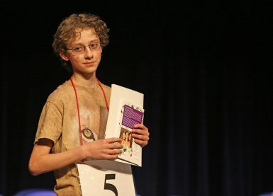 Daniel Larsen, a seventh grader at Jackson Creek Middle School, won the IU Bee and will compete at the national bee in May. (Emma Knutson | The Media School)