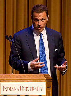"""American history has turned on the fact that some presidents had the guts to make tough decisions,"" Beschloss told his audience at IU Auditorium. (Photo by Jeremy Hogan)"