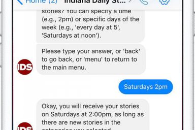 A screenshot of the IDS news delivery bot showing messaging between the platform and user