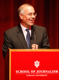 New York Times columnist David Brooks kicked off the fall Speaker Series with a talk to a capacity crowd at the Buskirk-Chumley Theater. (Photo by Jeremy Hogan)
