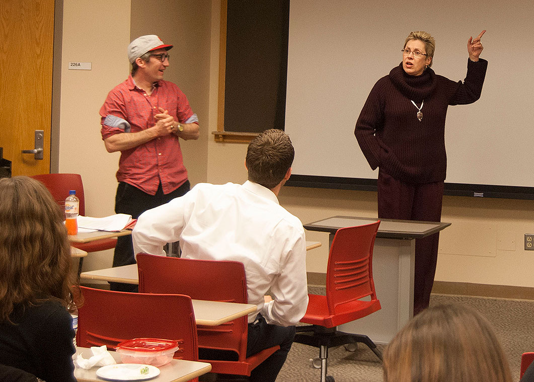 Professors Barbara Cherry (right) and Julien Mailland discussed net neutrality during Friday's Brown Bag Seminar. (Craig Lyons, master's student | The Media School)