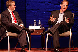 Fox Sports' Joe Buck (right) talked Tuesday night at the Buskirk-Chumley Theater as the last of the school's fall Speaker Series' guests. National Sports Journalism Center Director Tim Franklin led the conversation. (Photo by Jeremy Hogan)