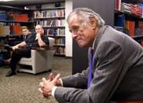 Deford spent part of the afternoon in the Ernie Pyle library, answering questions from faculty, staff and students. (Photo by Tim Street)