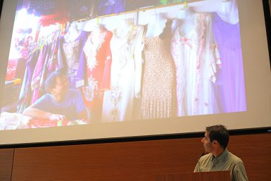 "Hessler showed photos of the Chinese lingerie shops he wrote about. ""When I do my research, I like to schedule some flexibility so that I can just see what turns up. I have often found that the most interesting things appear in this way,"" he said. (Emma Knutson 