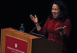 Broadcast producer and reporter Maria Hinojosa braved bad weather and a missed flight to make her talk at the Buskirk-Chumley Tuesday. She was the second of the school's Speaker Series' guests. (Photo by Mark Felix)