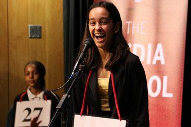 Seventh grader Tara Ganguly won the Scripps Regional Spelling Bee Saturday. The IU Media School and School of Education sponsor the event.