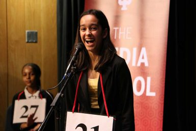 Seventh grader Tara Ganguly won the Scripps Regional Spelling Bee Saturday. The IU Media School and School of Education sponsor the event. (Jill Moore | The Media School)