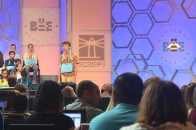 IU Bee winner Daniel Larsen spells a word during the 2017 Scripps National Spelling Bee in Washington D.C. (Courtesy)