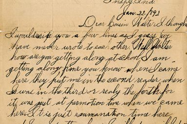 A letter written by Howard when he was 8 years old to his cousin Walter Sloan