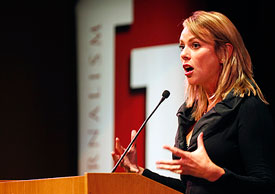 CBS chief foreign correspondent Lara Logan talked about the need for reporting war from within the zone during her talk at the Buskirk-Chumley Tuesday night. Hers was the second of the school's Speaker Series lectures. (Photo by Jeremy Hogan)