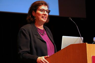 Pulitzer Prize-winning journalist Sonia Nazario spoke at the Buskirk-Chumley Theater Wednesday evening as a guest of the school's Speaker Series. (Grayson Harbour | The Media School)