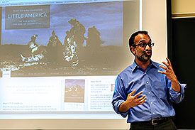 Chandrasekaran talked about his work as an international correspondent in professor Steve Raymer's J460 Reporting War and Terrorism class. (Photo by Steve Raymer)