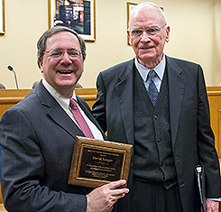After the talk, Sanger received the Lee Hamilton Public Service Fellowship from the IU Center on Congress. The former congressman, right, introduced Sanger before the talk. (Photo by Ben Wiggins)