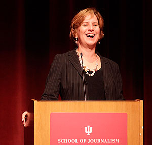 "NPR's Vivian Schiller talked on ""The Changing Face of Journalism"" Monday evening at the Buskirk-Chumley. She said while she isn't sure where journalism is going, it is experiencing a revolution. (Photo by Jeremy Hogan)"