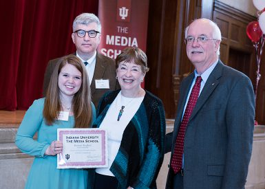 Hannah Boufford received the Robin Fogel Avni Scholarship for Design and the James E. and Anne (Echlin) Bright Scholarship. She is pictured with (from left) Dean James Shanahan and Jim and Anne Bright. (Ann Schertz Photography)