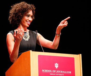 ESPN's Sage Steele spoke at the Buskirk-Chumley Theater Monday night as a guest of the school's Speaker Series. (Caitlyn O'Hara | The Media School)