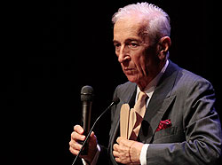 Author Gay Talese was the first of the school's fall Speaker Series guests. He talked about his six decades of reporting and writing. (Photo by Jeremy Hogan)