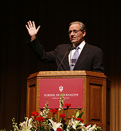 Author Bob Woodward spoke to about 2,000 at the IU Auditorium Monday evening. (Photo by Jeremy Hogan)