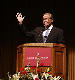 Author Bob Woodward spoke to about 2,000 at the IU Auditorium Monday evening. (Photo by Jeremy Hogan)