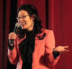 Author Sheryl WuDunn drew on her reporting and finance experiences in her book, Half the Sky, co-authored with her husband, New York Times columnist Nicholas Kristof. Her talk Monday night kicked off the spring Speaker Series. (Photo by Jeremy Hogan)