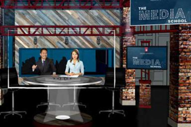 The Franklin Hall studio set features brick work, four screens and an anchor desk.