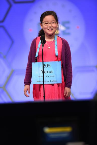 Yena Park participates in round two of the Scripps National Spelling Bee.