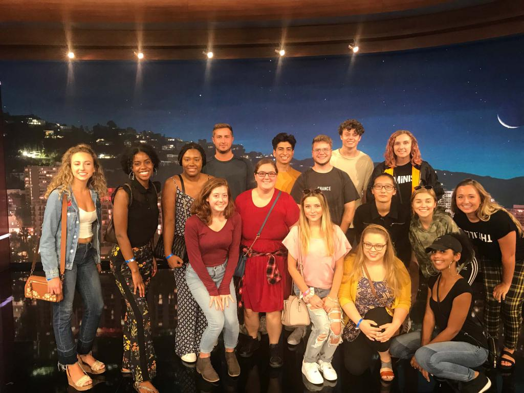 "Semester in L.A. students posing on the ""Jimmy Kimmel Live!"" set"