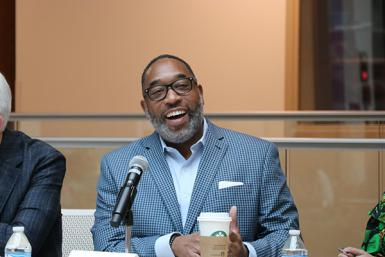 "Marvin Hill, national public relations manager at Humana, speaks to the audience during the ""Diversity is the Future"" panel."