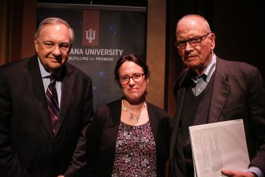 (Left to right) Edward Carmines, Warner O. Chapman and distinguished professor of political science; Maggie Haberman, New York Times White House correspondent; and former U.S. Rep. Lee Hamilton, a distinguished scholar in the Hamilton Lugar School of Global and International Studies, pose after the talk.