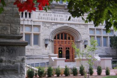The front door of Franklin Hall