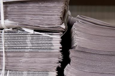 A stack of Indiana Daily Student newspapers