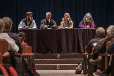 "(Left to right)Arizona Republic reporters Josh Susong and Daniel Gonzalez, USA Today reporter Annette Mead and Media School professor of practice Elaine Monaghan sit at a table and discuss ""The Wall: Unintended Consequences,"" a Pulitzer Prize-winning report that involved hundreds of journalists from USA Today newsrooms."