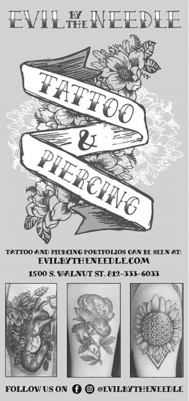 A newspaper advertisement for Evil by the Needle Tattoo & Piercing