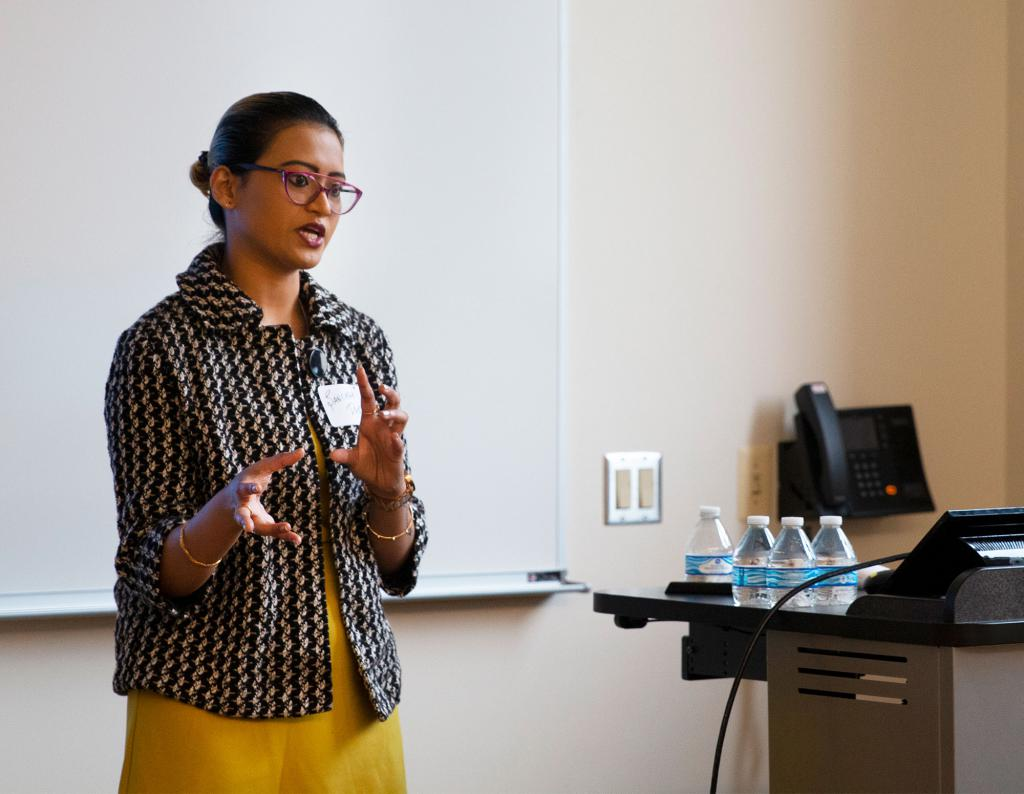 "Informatics doctoral student Sanchari Das presents her paper, ""How Celebrities Feed Tweeples with Personal and Promotional Tweets: Celebrity Twitter Use and Audience Engagement,"" in the session, ""Quantifying Social Media Ecosystems."""