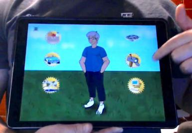 A prototype of the VINI app. It shows an illustration of a woman with six buttons surrounding her.