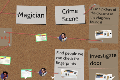 As part of the game, players have an evidence board like this one that helps them solve the mystery. (Courtesy photo)