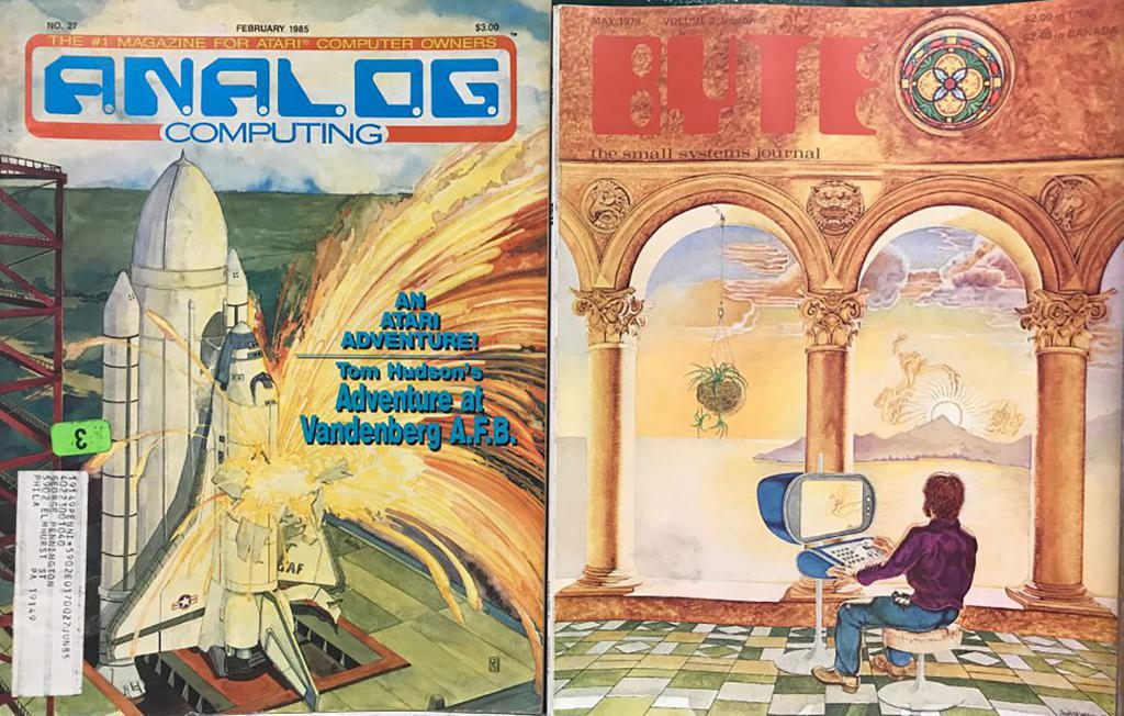 "Two magazines. One says: ""Analog Computing. No. 27. February 1984. $3.00. The #1 magazine for Atari Computer Owners. An Atari Adventure! Tom Hudson's Adventure at Vandenberg A.F.B."" The other says ""BYTE: The small systems journal."""