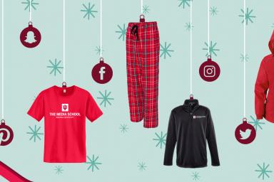 Three Media School sweatshirts, a Media School T-shirt and a pair of Media School pajama pants