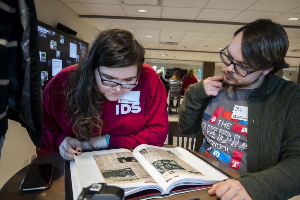 "Ellen Hine and Joey Bowling read ""Indiana Daily Student: 150 Years of Headlines, Deadines and Bylines"""