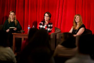 (Left to right) Facebook Sports Broadcast Partnerships strategic partner manager Paige Westin, IU chief marketing officer Karen Ferguson Fuson and MKTG vice president of corporate development Kim Barrett listen to an audience question.