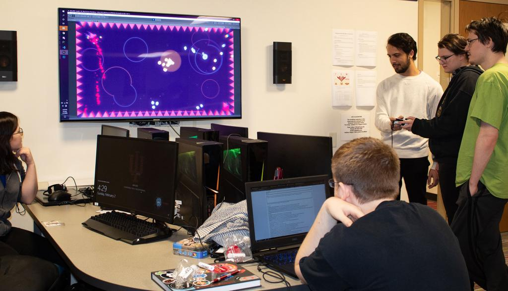 Students playtest a game