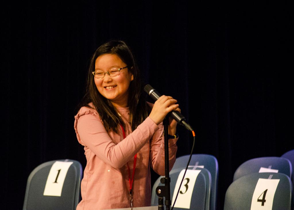 Yena Park on the spelling bee stage
