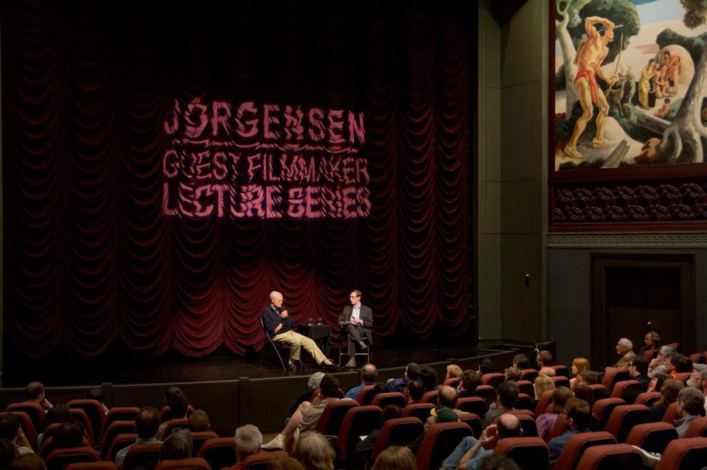David Churh and Roger Corman on the IU Cinema stage